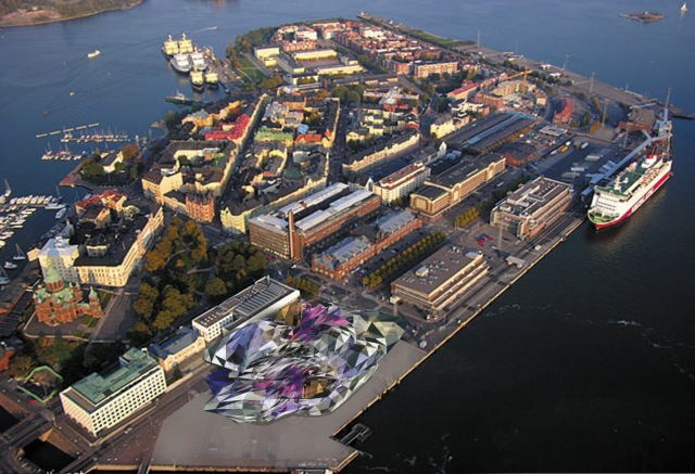 Site of proposed Guggenheim Helsinki museum. The rules do not call for the twisted turd drawn into this image. (maldinas.blogspot.com)