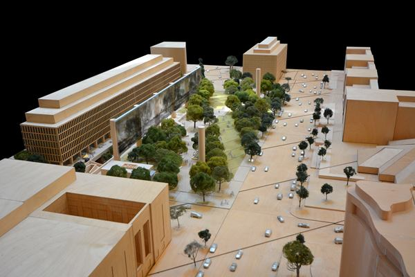 Latest rendition of Frank Gehry design for Eisenhower memorial, minus two small