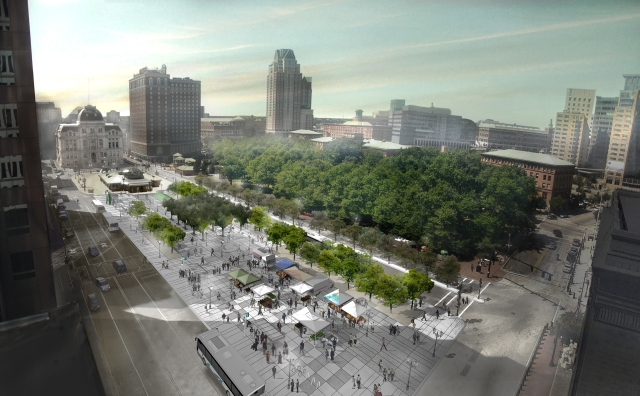 Latest rendering of the design of Kennedy Plaza, with market event in vacant space. (RIPTA)
