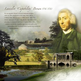 Capability Brown looking down on one of his landscapes. (lifechart.co.uk)