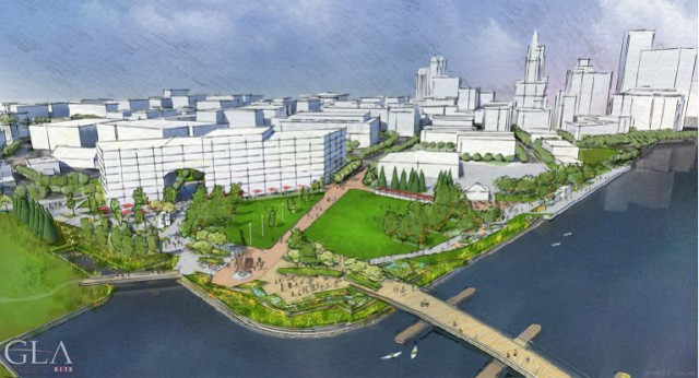 Early rendering of park at west end of pedestrian bridge on vacant Route 195 land. (gcpvd.org)