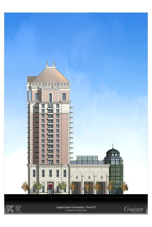Proposed design for Parcel 12 hotel, from 2006, by the Carpionato Group.