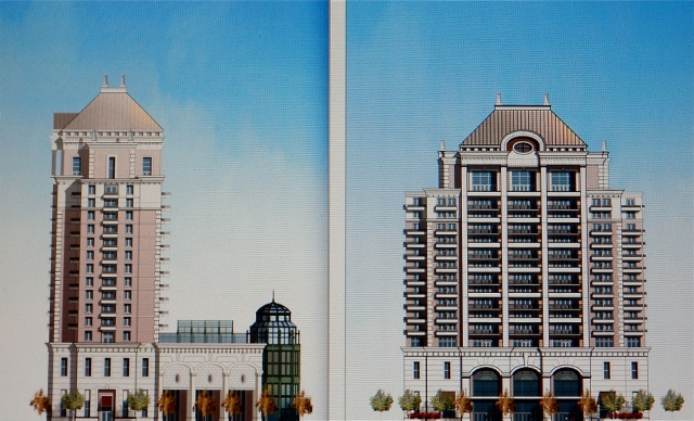 The north and east facades of the proposed Carpionato hotel design of 2006, for Parcel 12, Capital Center district, in Providence. (Courtesy of The Carpionato Group)