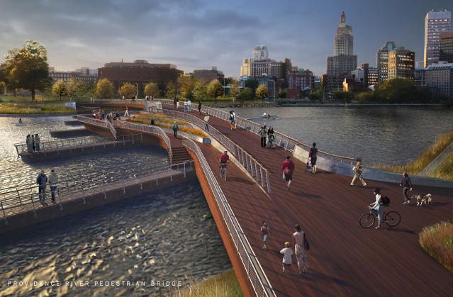 Proposed pedestrian bridge over the Providence River. (providenceri.com)