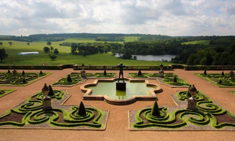 Garden of Harewood House, Leeds, with French style in foreground and British style landscape in background, both by Capability Brown. (theguardian.com)