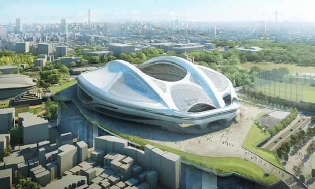 Latest version of proposed Tokyo Olympic stadium by Zaha Hadid. (Guardian)