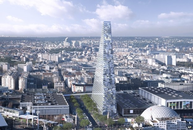 Proposed Triangle tower in Paris by Herzog & de Meuron. (BBC)