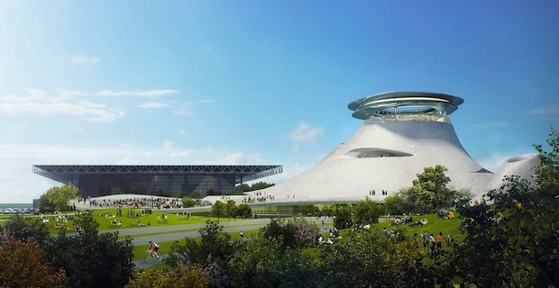 Proposed design by MAD architects for Lucas museum in Chicago. (Crain's)
