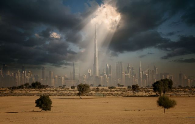 Burj Khalifa on skyline of Dubai. (Photographer unknown)