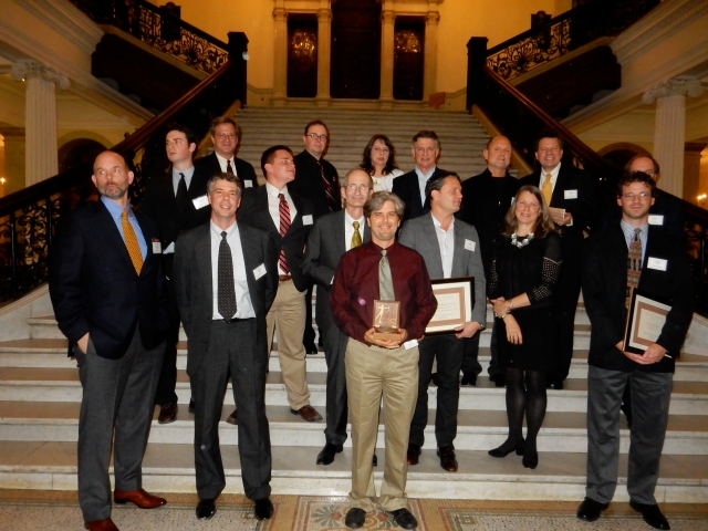 This year's Bulfinch winners standing on the Grand Staircase of the Statehouse. (Photo by David Brussat)