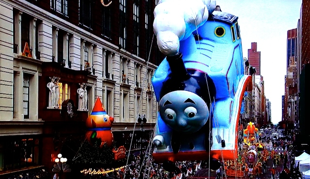 Thomas the Tank Engine in today's Macy's Thanksgiving Day Parade. (Screen Shot from NBC by David Brussat)