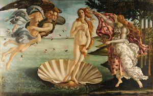 """""""The Birth of Venus"""" (1486) by Sandro Botticelli, Uffizi"""