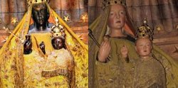 The Black Madonna, before (left) and after. (NYRB)