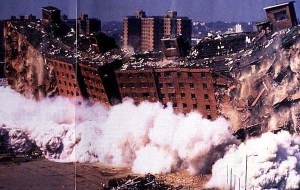 Demolition of Pruitt-Igoe, 1972. (rjdent.wordpress.com)