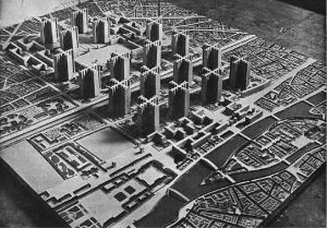 Le Corbusier's 1925 Plan Voison was inspiration for Pruitt-igoe. (palgrave-journal.com)