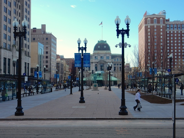Kennedy Plaza earlier today, after reopening ceremony. (Photo by David Brussat)