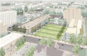 Nearest we have to an image of new Brown engineering campus. Proposed building to right of Manning Walk, involving demo of four lovely old hosues. (brown.edu)