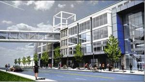 Proposed to rise over site of demolished mill is a mixed-use building near airport. (Integlia Development)