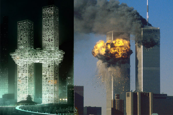 MRDV twin Seoul tower design at left; image of Twin Towers under attack at right. (latimesblogs.latimes.com)