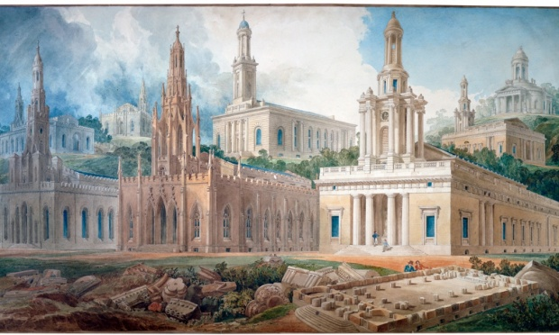 Rendering of several versions of Holy Trinity Church, Marlebone, 1824. (Soane Museum)