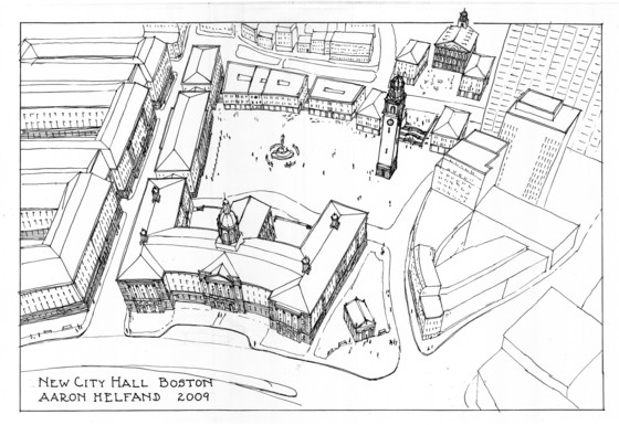 Axiometric plan of proposed Boston City Hall by Aaron Helfand.