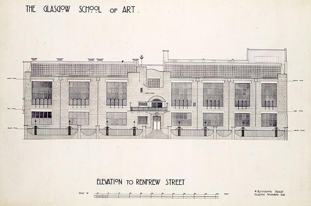 Charles Rennie Macintosh's drawing of his Glasgow School of Art. (list.co.uk)