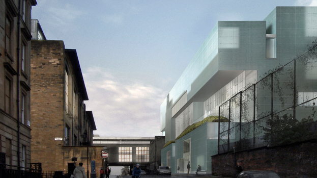 Steven Holl's aggressive new building confronts Rennie Macintosh's famous Glasgow School of Art building.