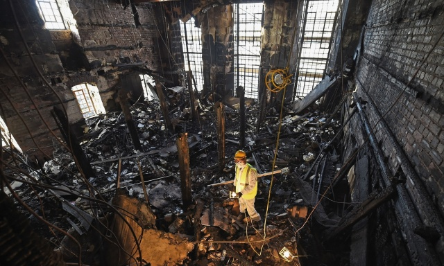 Macintosh Library after the fire. (Jeff J Mitchell/Getty Images)