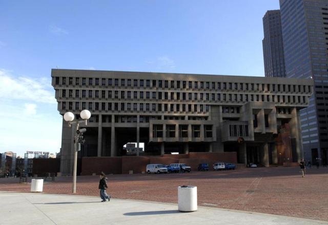 Famously disliked and inhospitable Boston City Hall. (Jodi Hilton/NYT)