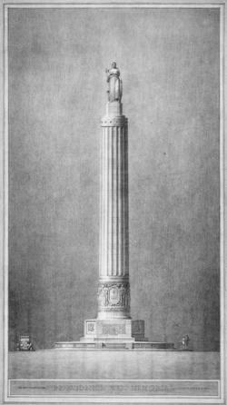 Drawing of memorial at Philadelphia Athenaeum. (philadelphiabuildings.org)