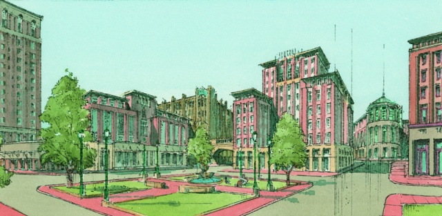 Proposed new buildings and redesigned Emmett Square, 2005. (Cornish Associates)
