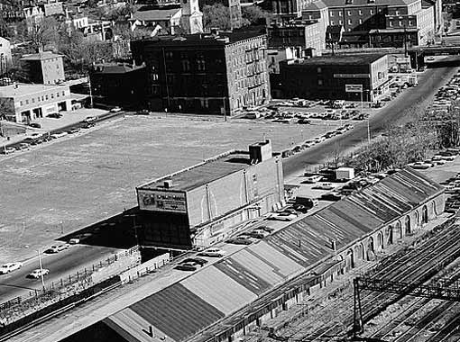 Tefft freight station in foreground, near Canal Street. (