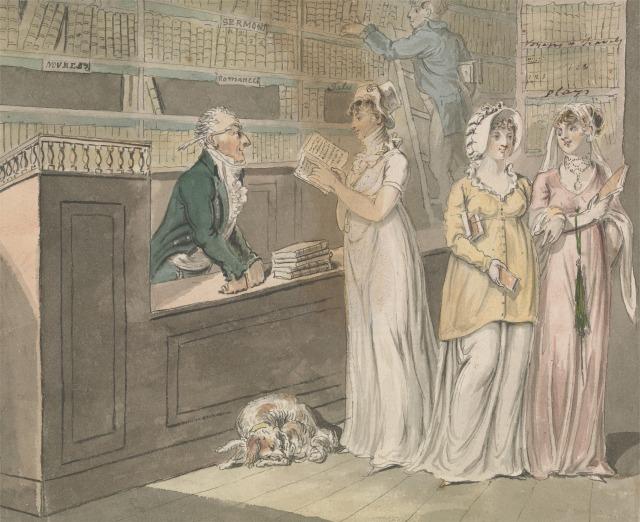 """The Lending Library,"" by Isaac Cruikshank, 1756–1810. (kittycalash.com)"