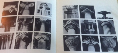 Two pages of column capitals designed by architect Joze Plecnik.