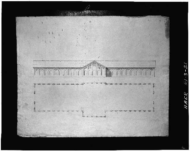 Architectural plan and elevation of North Freight Station, by Thomas Tefft.