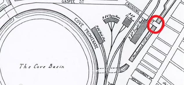 Map shows bridge near Cove Basin. (John Hutchins Cady)