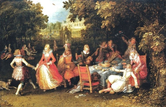 """Outdoor Garden Party"" (1610), by David Vinckboons. (bjws.blogspot.com)"