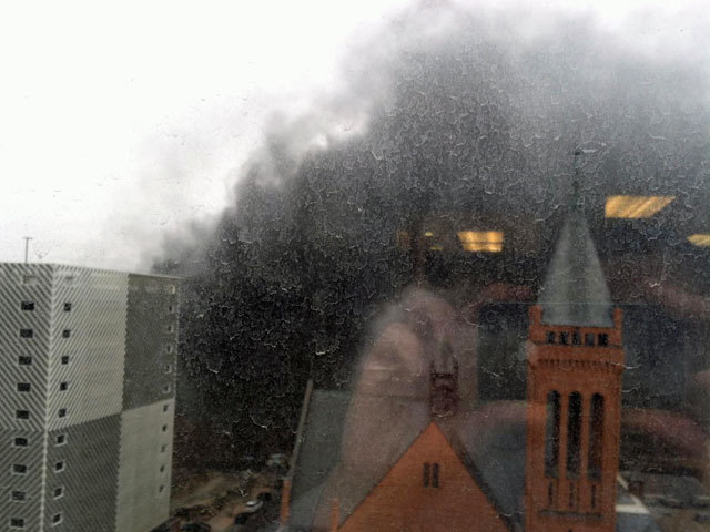 Not all is lost, as shown in photo by Aaron Acker of an HVAC fire in downtown Denver. (thedenverchannel.com)