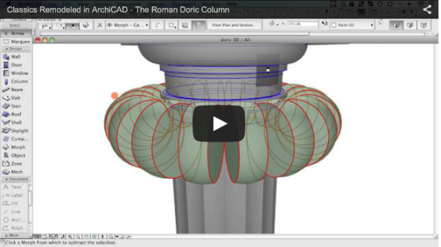Screen shot of ArchiCAD creating a Doric column. (Softgraphic)