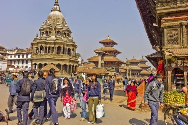 Palaces and temples of Patan's Durbar Marg, one of three royal squares leveled by the earthquake. (Photo by Philip Lieberman; courtesy of The Providence Journal)