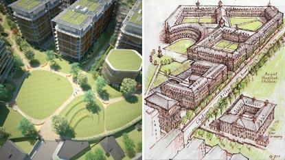 Rival plans for Chelsea Barracks development in London, circa 2009.