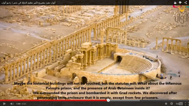 Screenshot of Palmyra illustrating alleged ISIS video. (blouinartinfo.com)