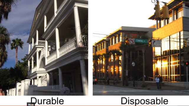 Porches on Charleston single house (l.) and buildings with inoperable windows (r.) (TEDx)
