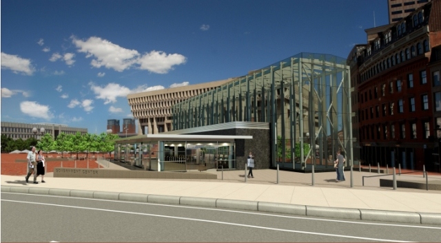 Rendering of new entry to T station at Government Center, Boston. (courtesy MBTA)