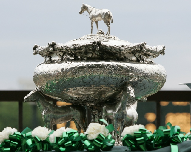 The Belmont Stakes trophy.