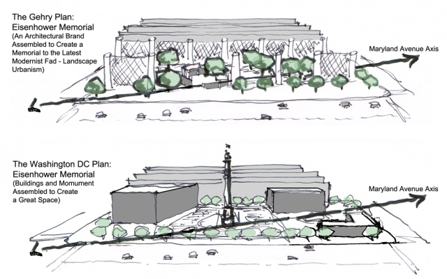 The Gehry design for memorial on top; a design by Howard Blackson. (placemakers.com)