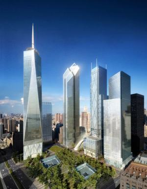 In this rendering, Norman Foster's design is second from left. (Foster + Partners)