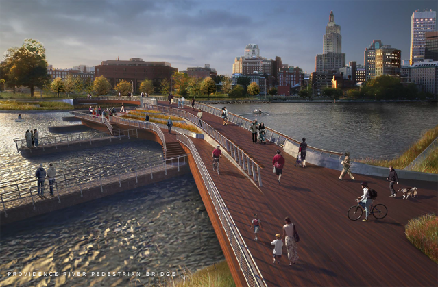 Proposed pedestrian bridge across the Providence River. (inFORM Studio)