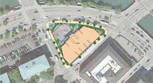 Site plan of Parcel 13 with latest hotel proposal. (First Bristol)