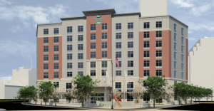 Rendering of hotel from Burnside Park. (First Bristol)